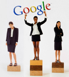 3 people standing on blocks; Google sign