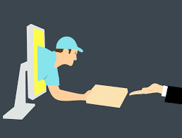 Man reaching out of computer; handing item