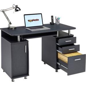 office desk, computer, lamp