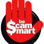 Red hand w/sign: be $cam $mart