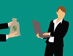 man, computer, money bag
