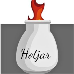 White jar, flames coming out top, labeled hotjar