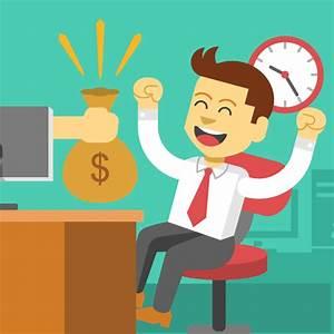 man at desk receiving sack of money