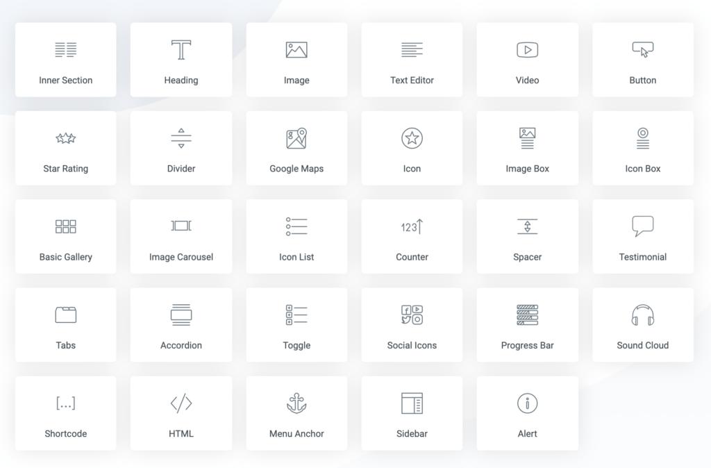 List of Elementor widgets