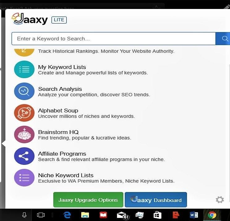 Jaaxy front page (search)