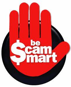 Red hand; message be scam smart