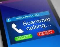 Sign: Incoming call: scammer calling; button to accept or reject