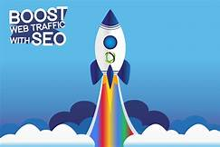 Rocket taking off: Boost web traf. with SEO
